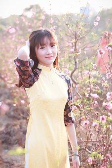 Nature, Beautiful, Summer, Girl, Dress, Flower