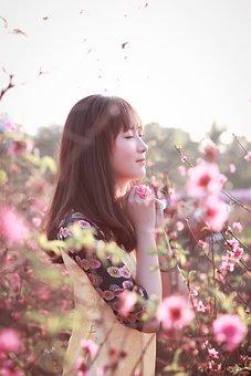 Nature, Flower, Beautiful, Summer, Girl, Outdoors