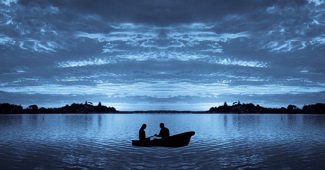 Boat, Sea, Wave, Together, Lake, Moon Light, Water