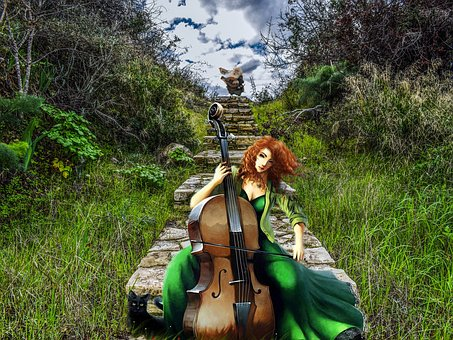 Wood, Grass, Nature, Adult, A, Woman, Sit, Music