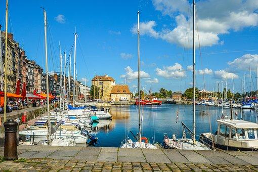 Harbor, Pier, Water, Sea, Yacht, Honfleur, France