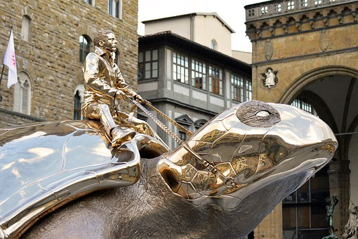 Giant, Turtle, Gold, Shiny, Chrome, Jan Fabre, Florence