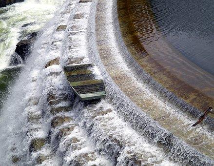 Boat, Dam, Water, Waterfall, Reservoir, Croton