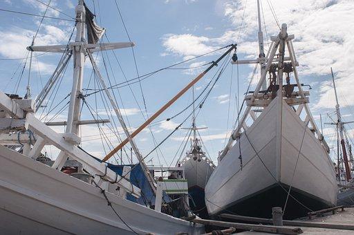 Boat, Anchor, Port, Makassar, Indonesia, Day, Daylight
