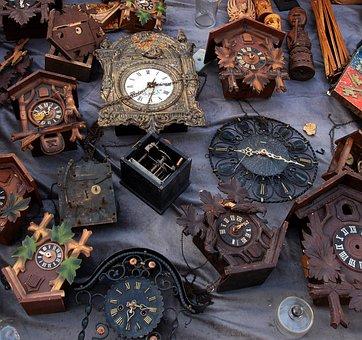 Flea Market, Clock, Arrows, Time, Dial, Old Clock
