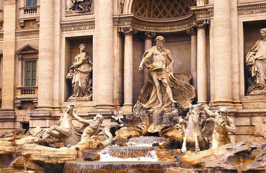 Rome, Lazio, Italy, Fontana, Trevi, Fontana Di Trevi