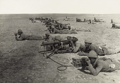 Machine Gun, Soldiers, Front, Troops, World War I, Wwi