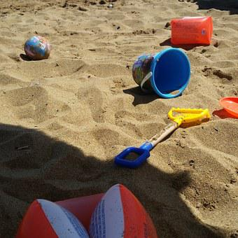 Games, Bucket, Armrests, Beach Umbrella, Sand, Crotone