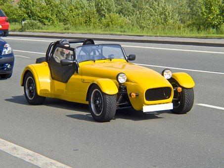 Auto, Racing Car, Replica, Yellow, Mature, Road, Black