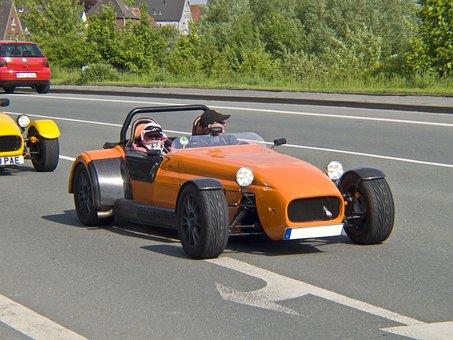 Auto, Racing Car, Replica, Orange, Mature, Road, Black