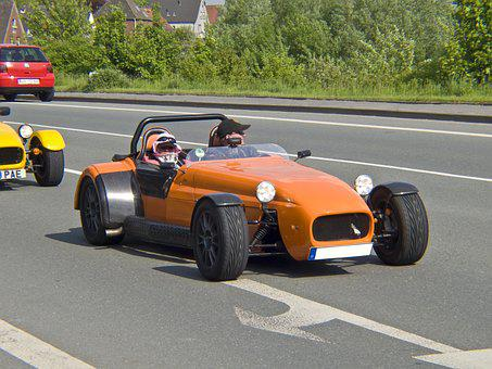 Auto, Racing Car, Replica, Orange, Mature, Road, Black