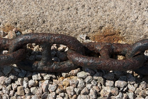 Chain, Rusty, Anchor, Iron, Connected