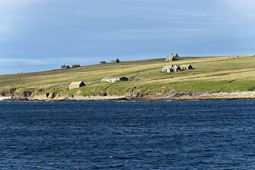Seascape, Landscape, Shoreline, Sea, Houses, Ruins