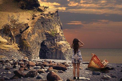 Waters, Sunset, Coast, Beach, Landscape, Panorama
