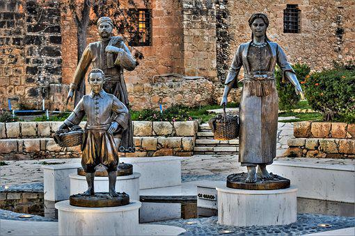Fisherman's Family, Statue, Sculpture, Travel, People