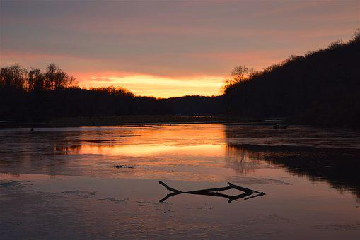 Sunset, Lake, Branch, Landscape, Winter, Trees, Clouds