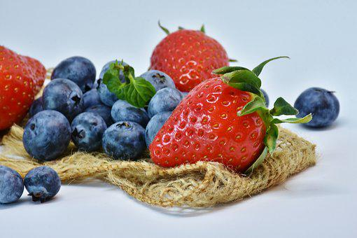 Strawberries, Blueberry, Fruit, Food, Healthy, Berry