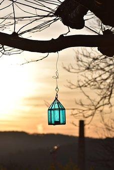Back Light, Abendstimmung, Sunset, Lantern, Turquoise