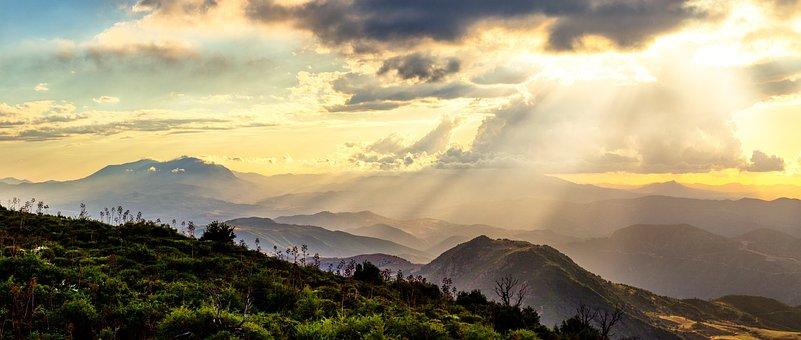 Panoramic, Nature, Mountain, Landscape, Sunset, Sky