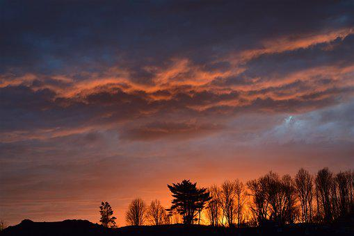 Sunset, Trees, Landscape, Winter, Clouds, Sky, Colorful