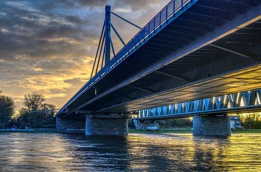 Bridge, Waters, River, High Water, Rhine, Sunrise