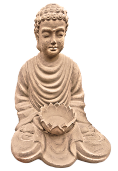 Buddha, Figure, Begging Bowl, Ceramic, Sitting