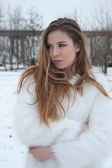 White, Blond, Beauty, Snow, Smile, Portrait