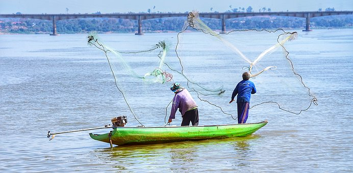 Fishing, Mekong, River, Longtail, Boat, Green, Pakse