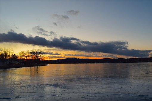 Lake, Sunset, Sun, Cloud, Ice, Frozen, Coast, Water