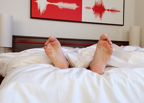 Person, Bed, Sleeping, Feet, Barefoot, Comfortable