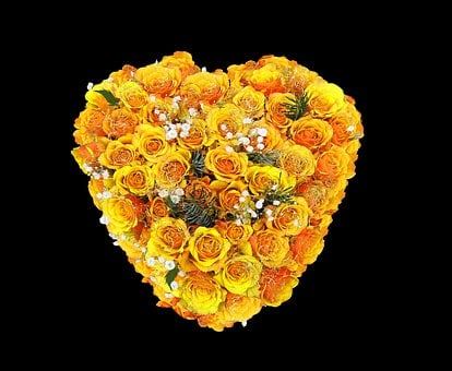 Flower, Roses, Flowers, Heart, Yellow, Bouquet, Love