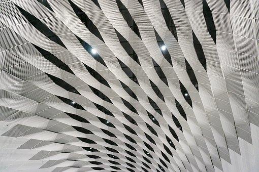 Pattern, Ceiling, Steel, Geometric, Futuristic, Decor