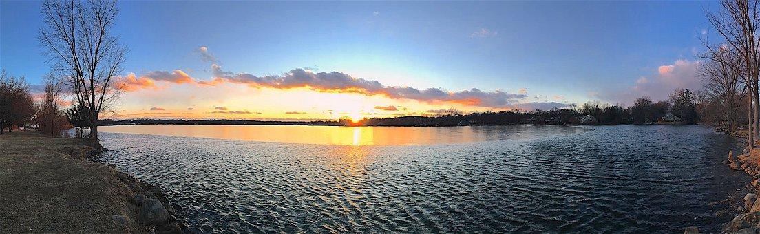 Sunset, Lake, Panoramic, Landscape, Nature, Clouds, Sky