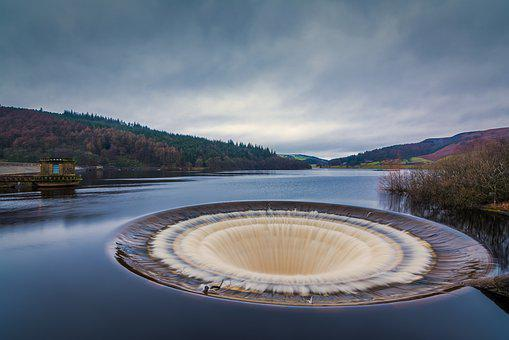 Ladybower Reservoir, Plug Hole, Overflow, Water, Nature