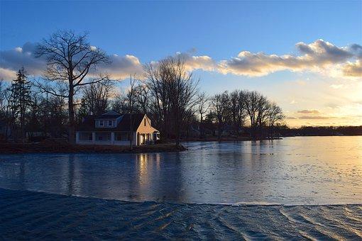 Lake, House, Tree, Sunset, Winter, Light, Reflection