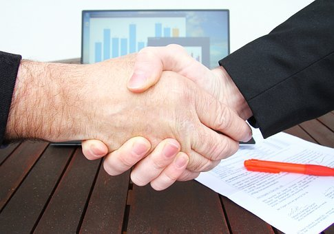 Company, Shaking Hands, Businessman, Handshake, Tablet