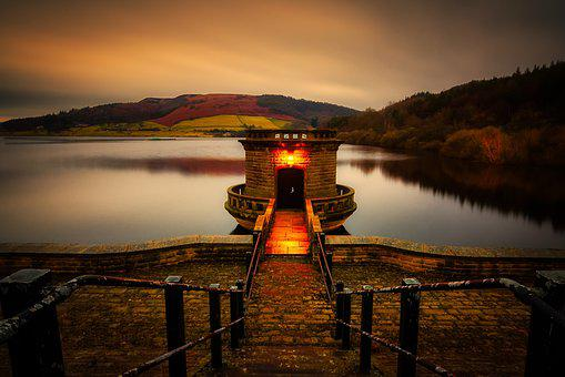 Ladybower, Reservoir, Derwent, Valley, Derbyshire, Peak