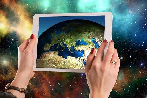 Europe, Asia, Tablet, Universe, Space, Planet