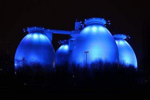 Illuminated, Darkness, Sky, Germany, Bottrop Germany