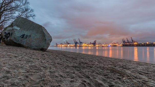 Waters, Sunset, Sea, Dawn, Sky, Elbe, Hamburg, North