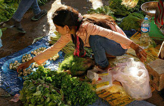 Girl, Lady, Selling, Home Produced, Vegetables, Market