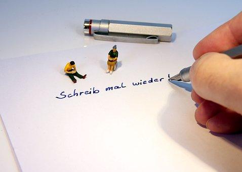Leave, Fountain Pen, Miniature Figures, Paper