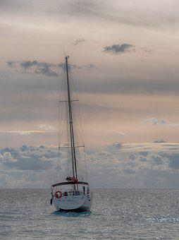 Body Of Water, Sea, Ocean, Boat, Sailboat, Ship, Sky