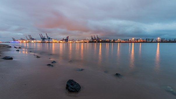 Waters, Sunset, Dawn, Sea, Beach, Elbe, Hamburg, North