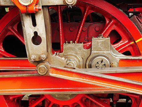 Steam Locomotive, Kuppelrad, Spoke Wheel, Drive Rod