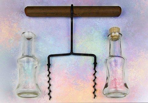 Glass, Bottle, Corkscrew, Glasses, Still Life, Art