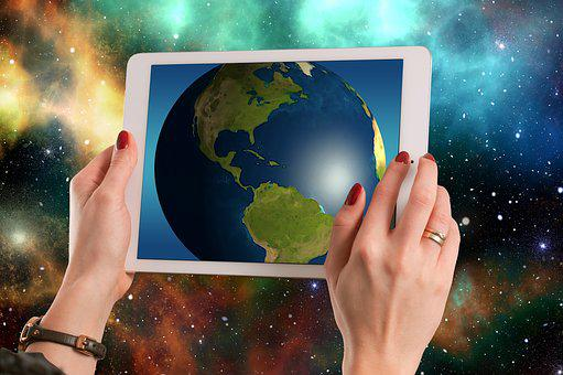 Usa, America, Tablet, Universe, Space, Planet
