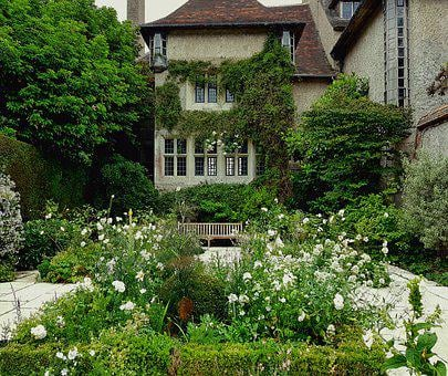 Country House, Villa, Park, Flower Beds, Home