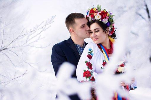 Winter, Happiness, Snow, Ukraine, Couple, Just Married