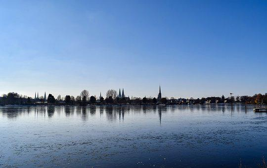 Waters, Reflection, Lake, Sky, River, Lübeck